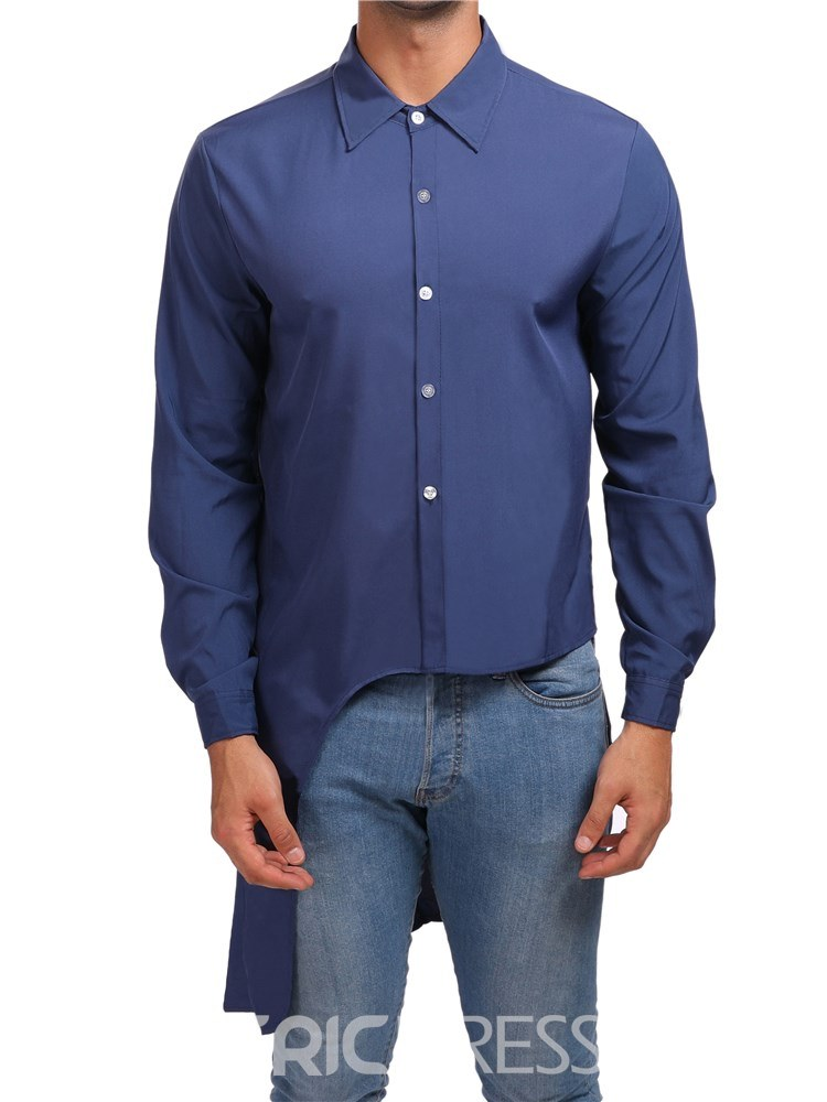 Ericdress Asymmetric Slim Plain Button Up Mens Unique Shirts
