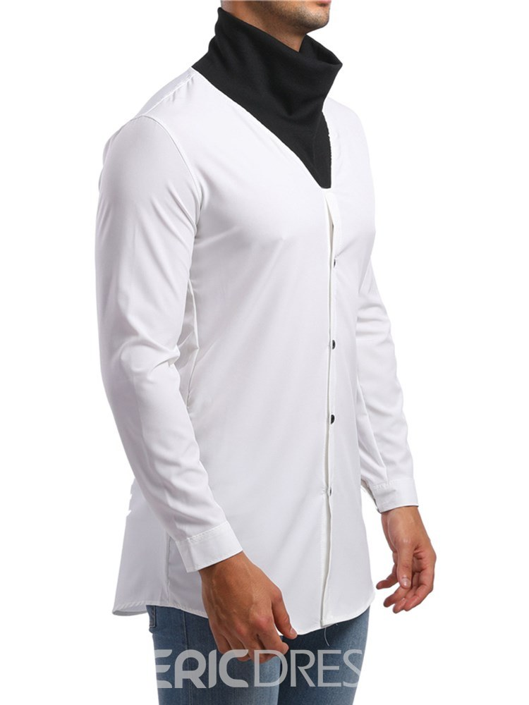 Ericdress Patchwork High Neck Color Block Mens Casual Shirts