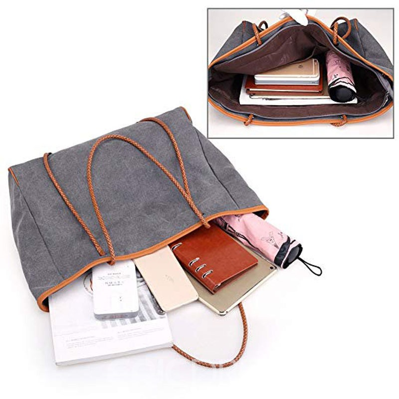 Ericdress Color Block Canvas Barrel Shaped Women Shoulder Bag