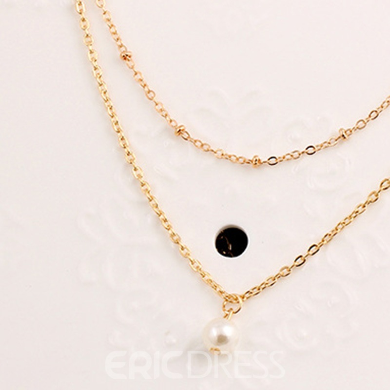 Ericdress Double Chain Pearl Charm Necklace For Women