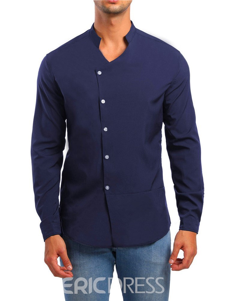 Ericdress Plain Stand Collar V-Neck Single Breasted Mens Casual Shirts
