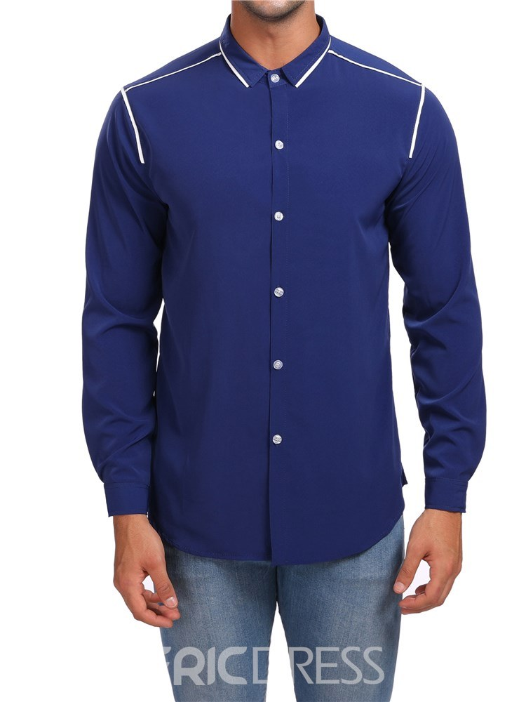 Ericdress Color Block Lapel Single Breasted Mens Casual Shirts