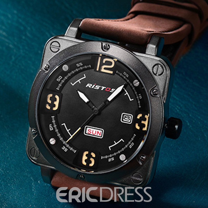 Ericdress Square Dial With Calendar New Men's Watch