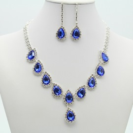 Ericdress Crystal Waterdrop Shining Jewelry Set