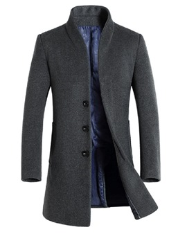 Ericdress Stand Collar Slim Mid-Length Men's Wool Coat