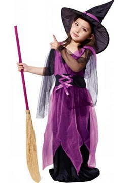 Ericdress Mesh Color Block Girl's Witch Cosplay Halloween Costumes