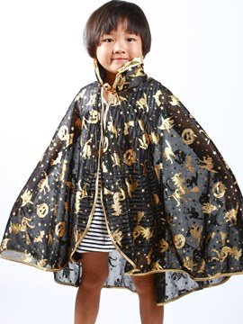 Ericdreess Cartoon Printed Stand Collar Kid's Halloween Cape