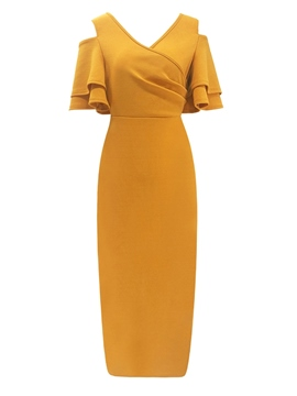 Ericdress Half Sleeve V-Neck Falbala Pullover Elegant Dress