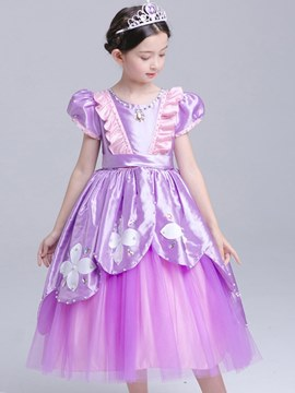 Ericdress Floral Print Color Block Mesh Princess Sophia Girl's Costumes
