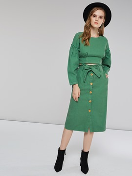 Ericdress Button Patchwork Plain T-Shirt and Skirt Women's Two Piece Set