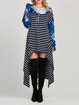 Ericdress Color Block Floral Long Stripe Cool Hoodie