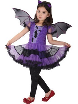 Ericdress Ruffles Bat Designed Girl's Cospaly Halloween Costumes