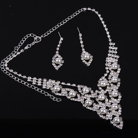 Ericdress Simple Pearl Rhinestone Jewelry Set