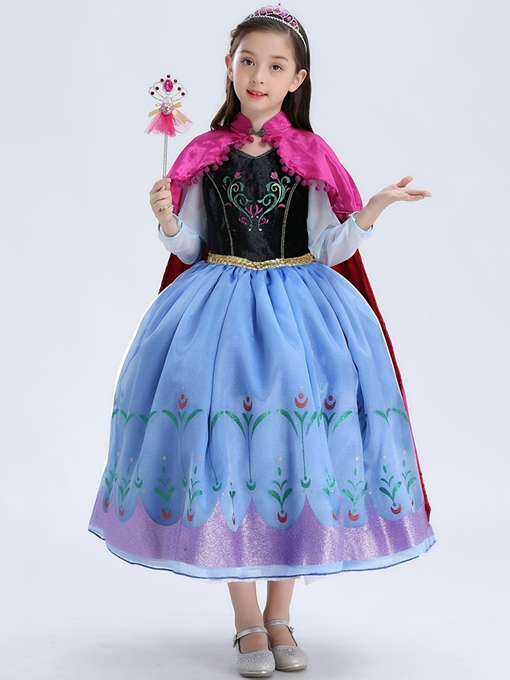 Ericdress Floral Print Color Block Square Neck Girl's Princess Costumes