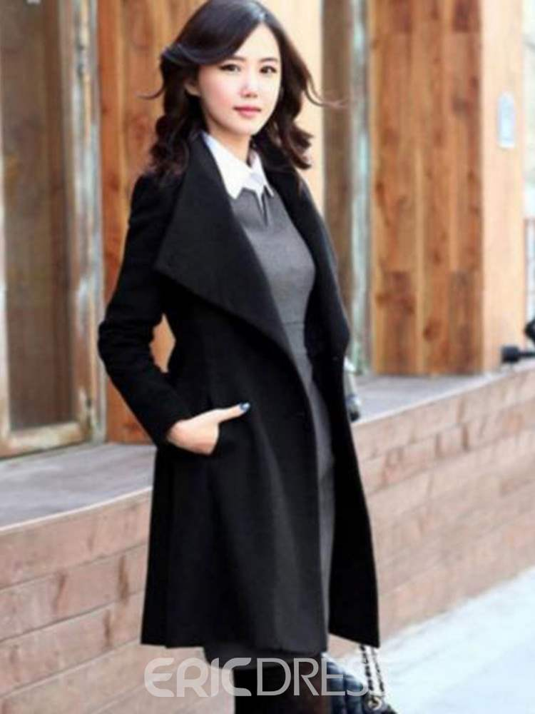 Ericdress Plain Belt Mid-Length Single-Breasted Casual Coat