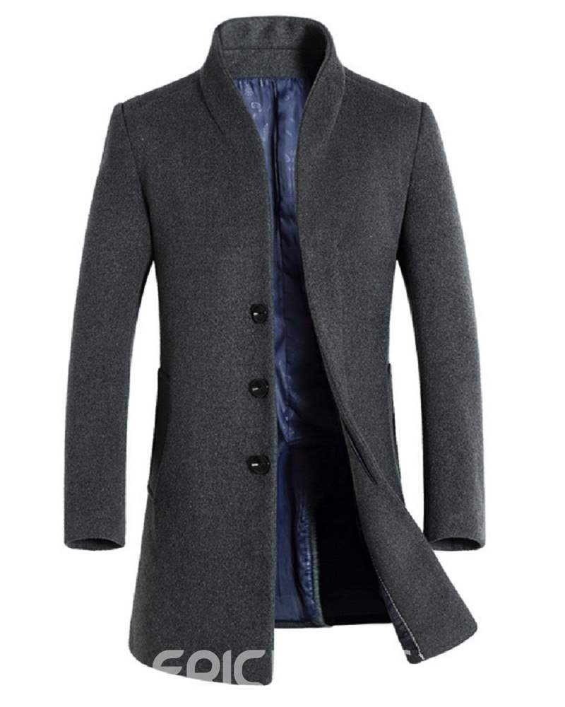 Ericdress Stand Collar Slim Mid-Length Men's Small Size Wool Coat