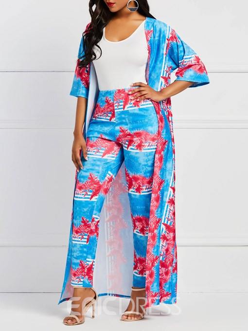 Ericdress Floral Print Trench Coat and Pencil Pants Women's Two Piece Set