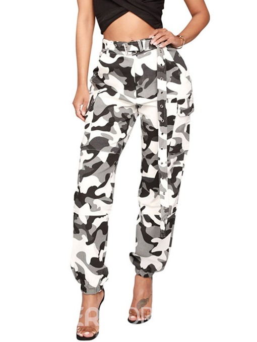Ericdress Camouflage Belt Women's Pants