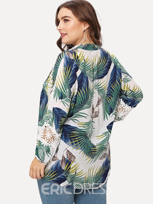 Ericdress Patchwork Plant Print Plus Size Blouse