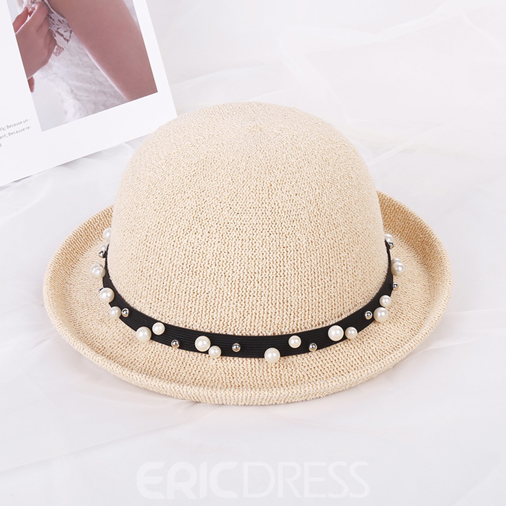 Ericdress Lady Beads Bowler Hat