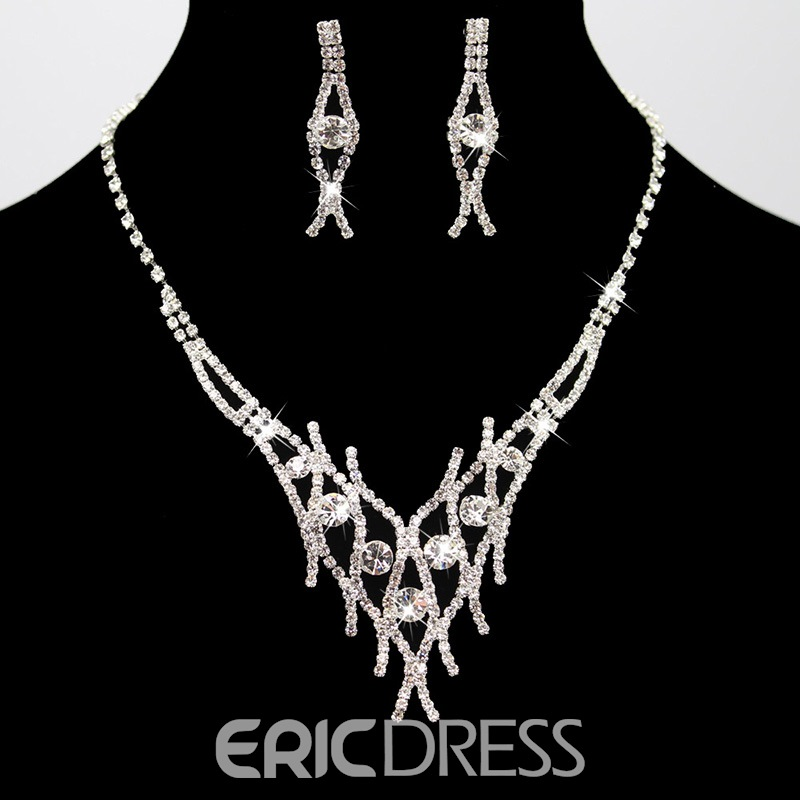 Ericdress Shining Wedding Silver Bride Jewelry Set