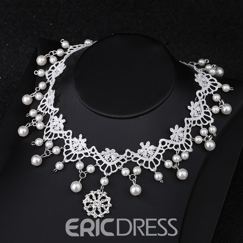 Ericdress White Lace Wedding Bride Jewelry Set