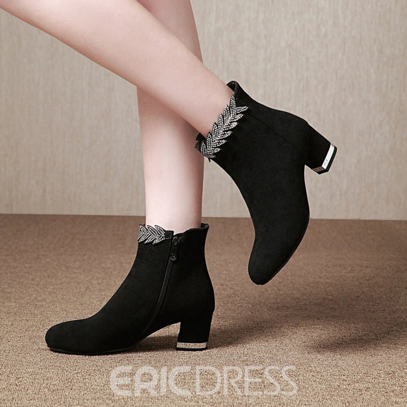 Ericdress Rhinestone Side Zipper Chunky Heel Ankle Boots