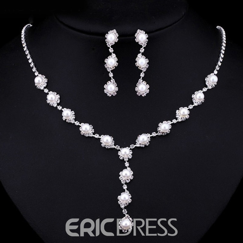 Ericdress Wedding Pearl Diamante Bride Jewelry Set