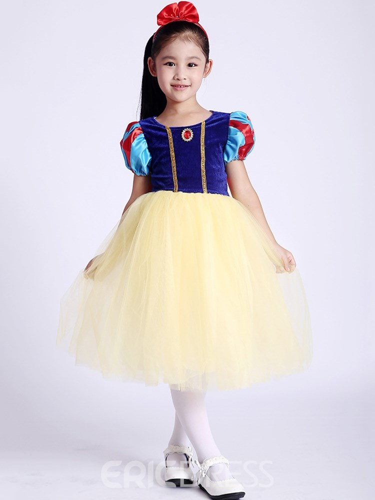 Ericdress Mesh Color Block Puff Sleeve Girl's Princess Costumes