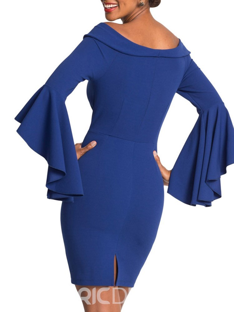 Ericdress Bodycon Off the Shoulder Flare Sleeve Women's Dress