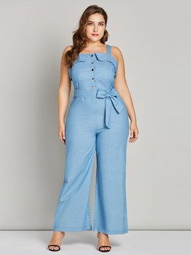Ericdress Button Plain Lace-Up Women's Jumpsuits