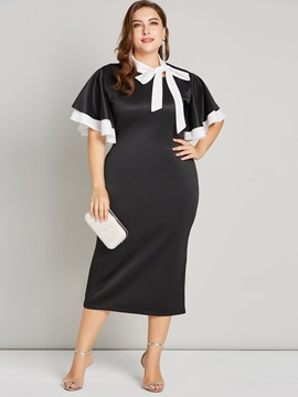 Ericdress Plus Size Bow Collar Mid-Calf Half Sleeve Plain Ladylike Dress