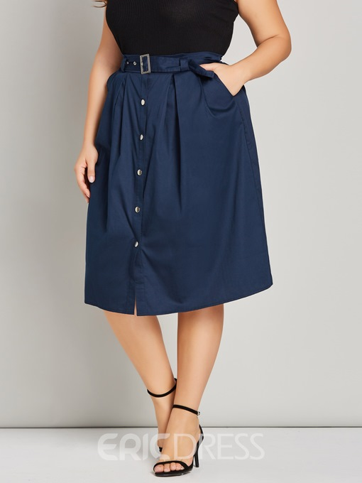 Ericdress Plus Size A-Line Pocket Plain Belt Simple Skirt