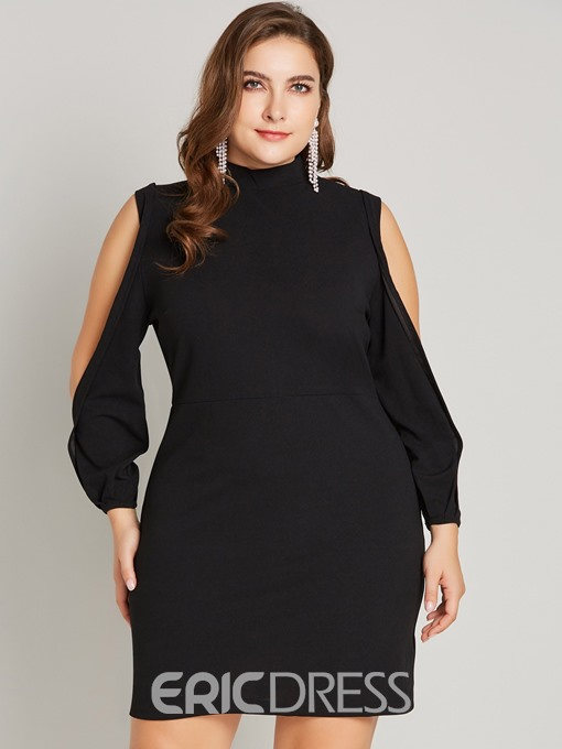 Ericdress Plus Size Stand Collar Above Knee Hollow Bodycon Pullover Dress