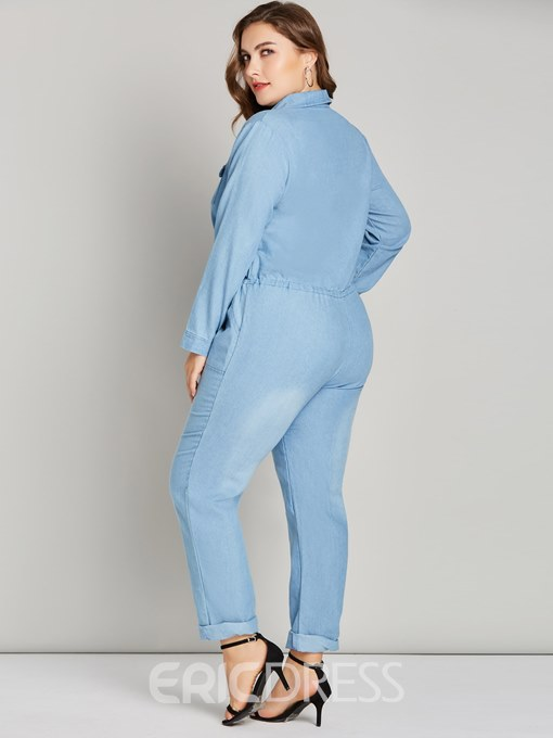 Ericdress Plus Size Denim Pocket Plain Jumpsuit
