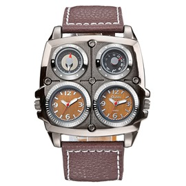 Ericdress Thermometer Compass Dual Time Zone Watch