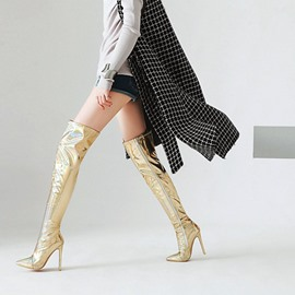 Ericdress Plain Stiletto Heel Over The Knee Metallic Boots