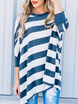 Ericdress Scoop Patchwork Print Stripe Long Sleeve T-shirt