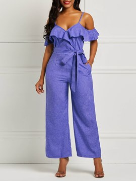 Ericdess Ruffles Cold Shoulder Lace-Up Women's Jumpsuits