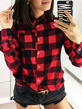 Ericdress Plaid Loose Print Lapel Long Sleeve Blouse