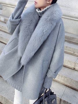 Ericdress Loose Plain Lapel Patchwork Faux Fur Coat