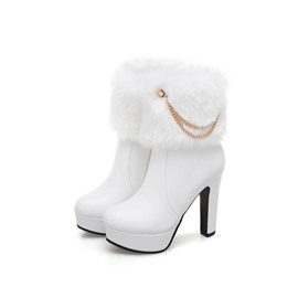 Ericdress Side Zipper Platform Chunky Heel Women's Ankle Boots