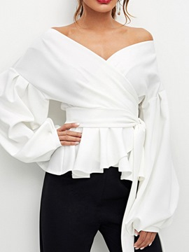 Ericdress Loose Plain V-Neck Lace-Up Lantern Sleeve Blouse