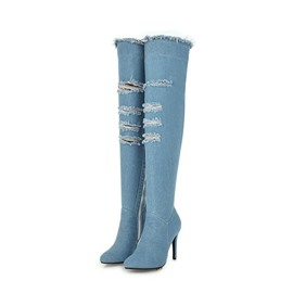 Ericdress Denim Side Zipper Stiletto Heel Over The Knee Boots