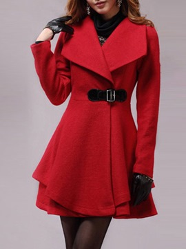 Ericdress Lapel Plain Tunic Mid-Length Coat