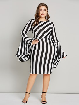 Ericdress Plus Size Stripe Color Block Patchwork Plus Bodycon Dress