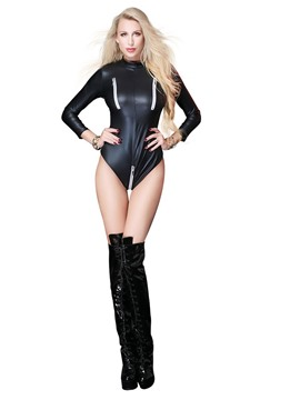 Ericdress Plain Zipper Nine Points Sleeve Patent Leather Bodysuit