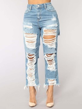 Ericdress Ripped Plain Straight Mid-Waist Women's Jeans