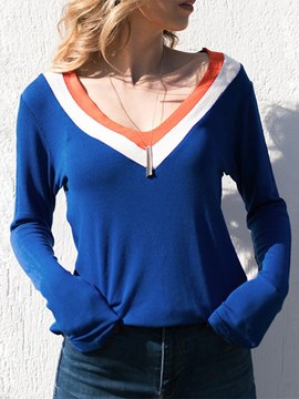Ericdress Color Block Loose V-Neck Long Sleeve T-shirt