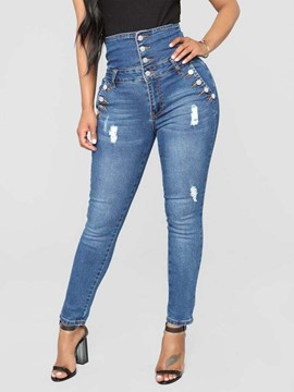 Ericdress Button High-Waist Slim Women's Jeans